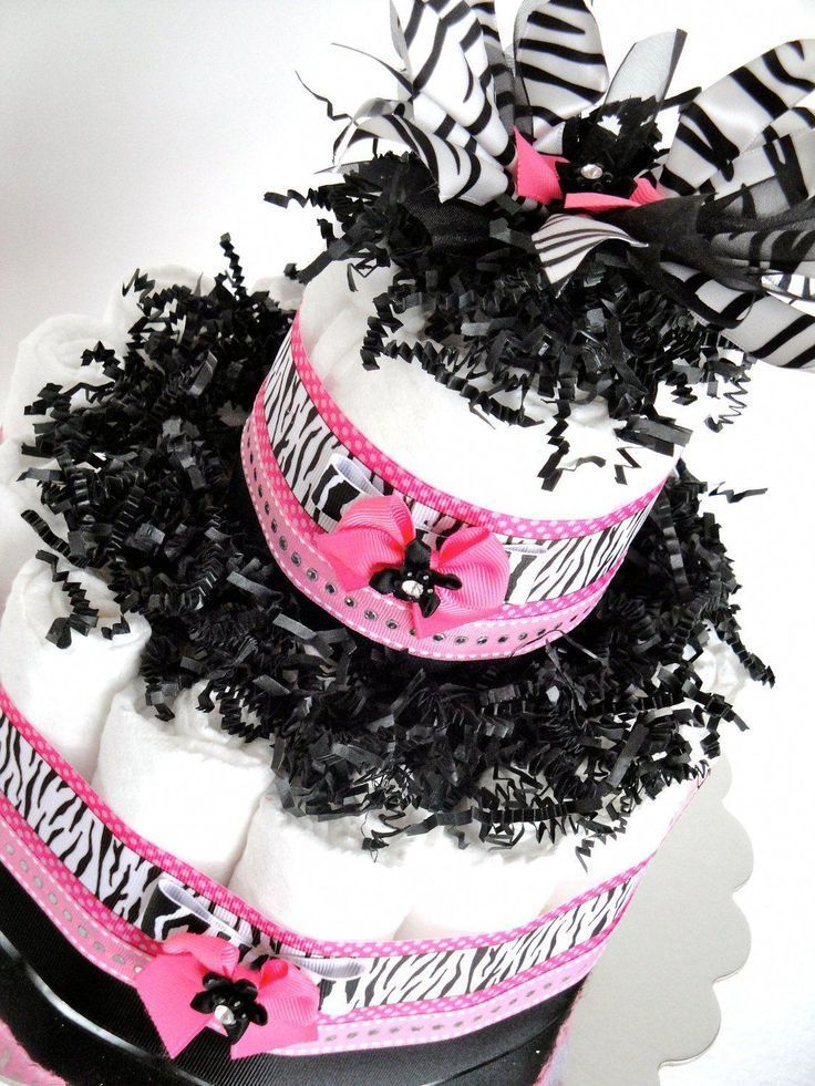 Zebra Diaper Cake Little Diva Hot Pink Black Zebra Bling
