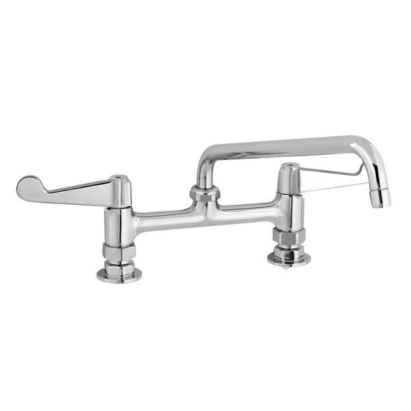 Equip By T S 5f 8dws10 Deck Mount Mixing Faucet With Wrist Action Handles And 10 Swing Nozzle On 8 Centers In 2020 Faucet Commercial Faucets Ada Compliant