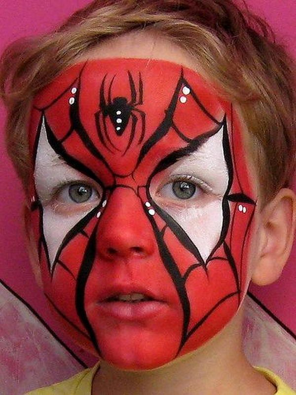 Spiderman. Cool Face Painting Ideas For Kids, which transform the faces of little ones without requiring professional quality painting skills.