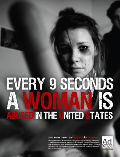 Graphic picture showing a beat-up women to raise awareness of abuse. Shows the seriousness of the subject.