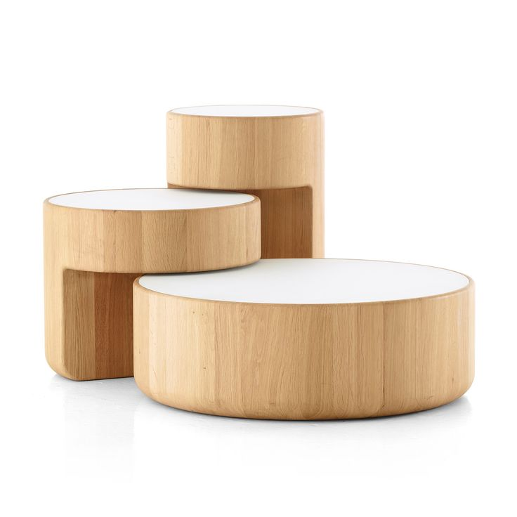 levels nesting tables set of 3 in oiled oak white ral 9003