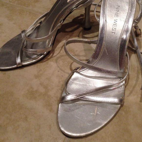 "Nine West Silver strappy sandal heels 3.5""-4"" Nine West silver strappy sandal heels.condition: meh. Nine West Shoes Heels"