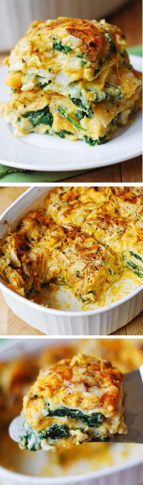 Butternut Squash and Spinach Three Cheese Lasagna - Healthy, vegetarian, gluten-free friendly recipe.