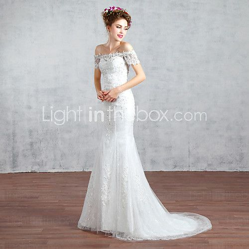 Comes in white or red. Trumpet / Mermaid Wedding Dress Court Train Bateau Lace / Tulle with Beading / Lace - USD $109.99