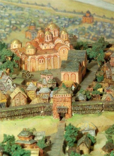 D. Maziukevych's model of Kyiv's ditynets (11th century) with the Church of the Tithes in the centre