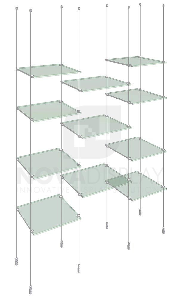 Cable Rod Suspended Shelf Display Kits Glass Display Shelves