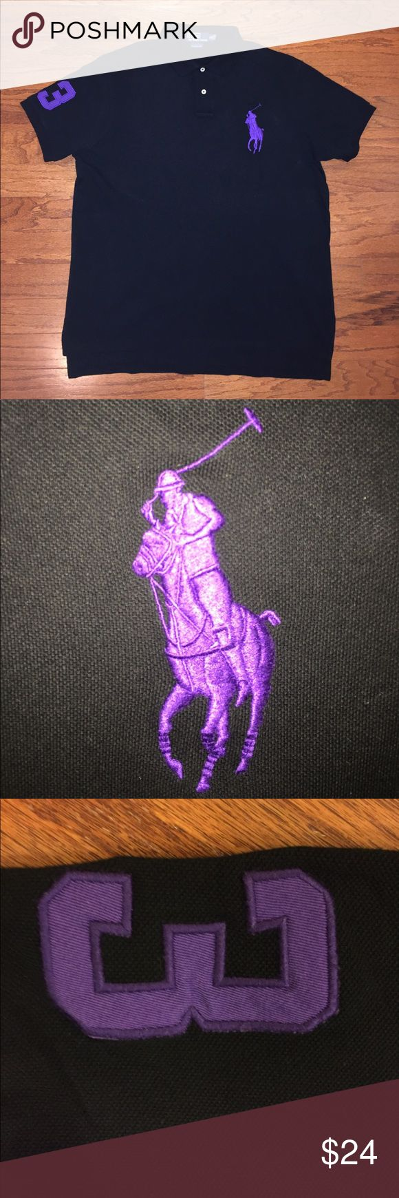 """Polo By Ralph Lauren, Pique Big Logo Short Sleeve Very good condition, gently worn, black color with big purple Polo horse logo, purple number 3 patch on right sleeve, 100% cotton pique material, men's size x-large, custom fit, measures about 25"""" pit to pit and 31"""" from top to bottom of shirt tail, extremely nice looking Polo! Polo by Ralph Lauren Shirts Polos"""