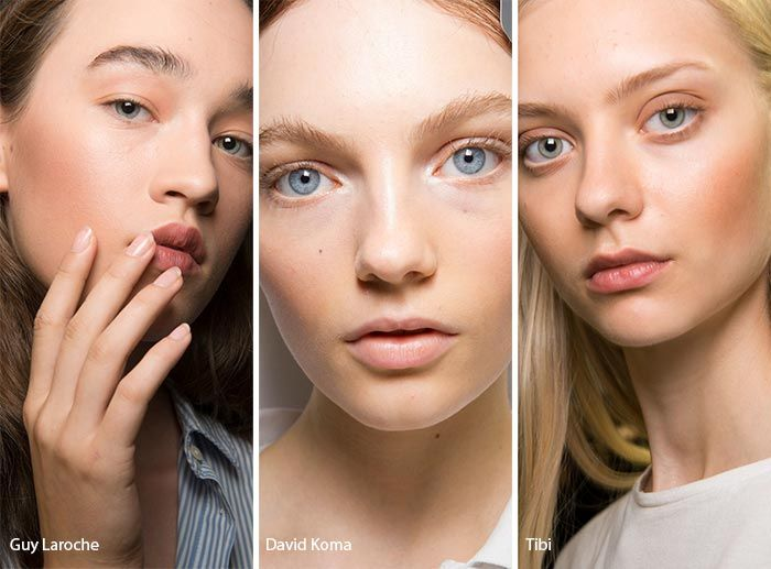 Spring/ Summer 2017 Makeup Trends: Soft, Warm Contouring. Skip the sharp reddish brown contour and opt for yellow bronzy tones and peachy blush for a much more natural take on contouring.