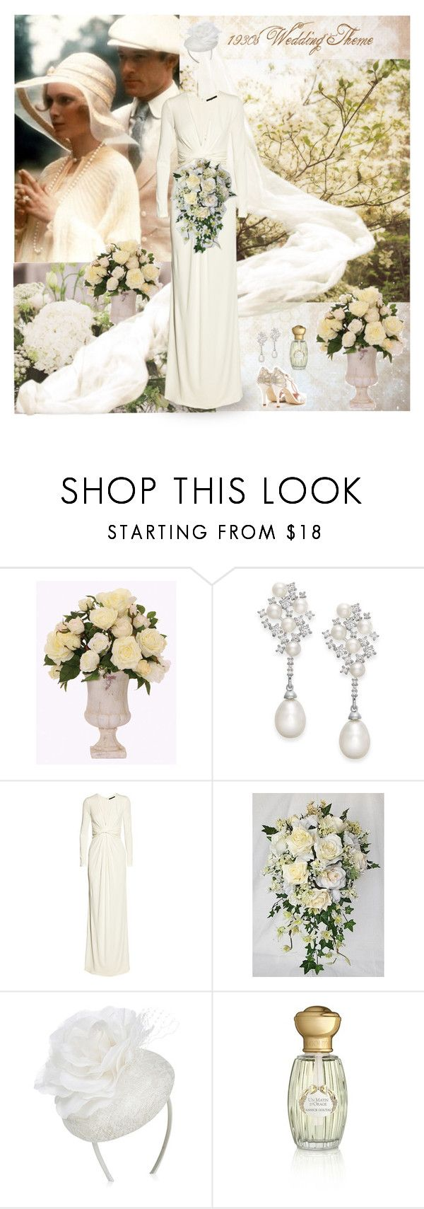 """""""1930s Wedding Theme"""" by dezaval ❤ liked on Polyvore featuring Lux-Art Silks, Arabella, Gucci, Accessorize, Annick Goutal and vintage"""
