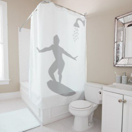 Surfer Man Bathroom Shadow Behind Silhouette Funny Shower Curtain - shower gifts diy customize creative