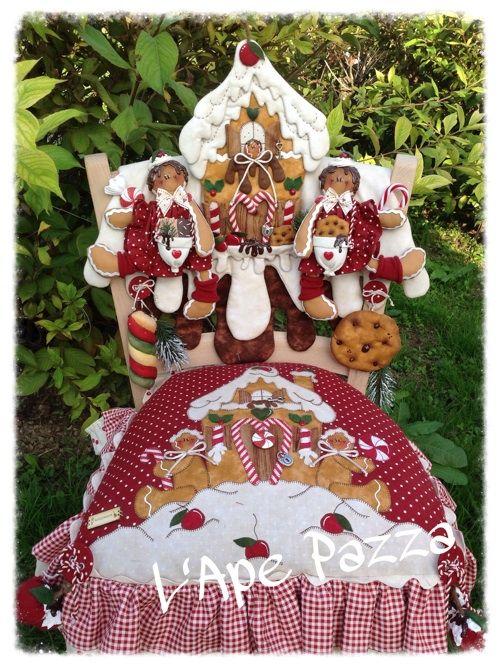 Cartamodelli ginger Natale 2014 : Cartamodello cuscino e spalliera ginger con casetta pan di zenzero