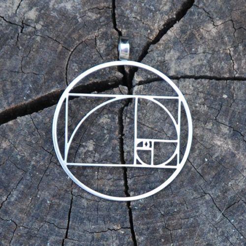 Fibonacci Golden ratio pendant  Stainless Steel by Floweroflife9, $20.00