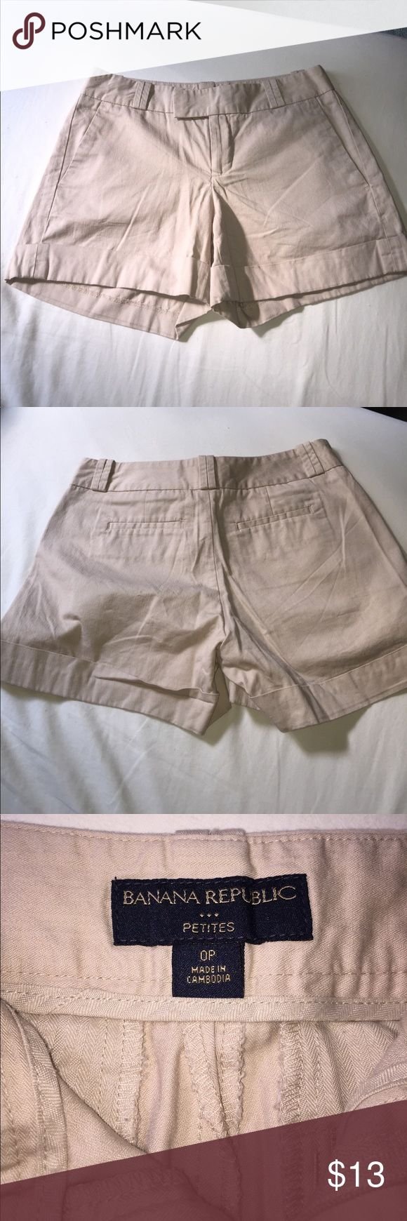Banana Republic Shorts - Sz Petites 0 First and foremost, sorry for the wrinkles, but I have a cute pair of banana republic dress shorts. Size of waist is 13 inches laying flat. Total length is 12 inches and inseam length is 4 inches.  There are no stains or holes. In great condition. Just needs to be ironed (lol).   Total of two pockets in the front and two pockets on the back and can be worn with a belt. Please feel free to ask any questions and thanks for checking out my closet. Banana…