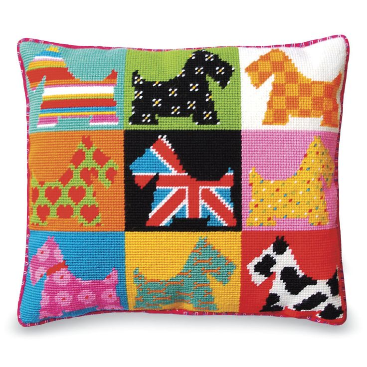 Pop Art Scottie Dogs Pillow Top - Cross Stitch, Needlepoint, Embroidery Kits – Tools and Supplies