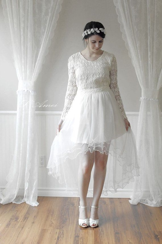 High Neck Line Short Front Long Back Long Sleeve Lace Wedding Dress. Perfec for the Dancing Bride
