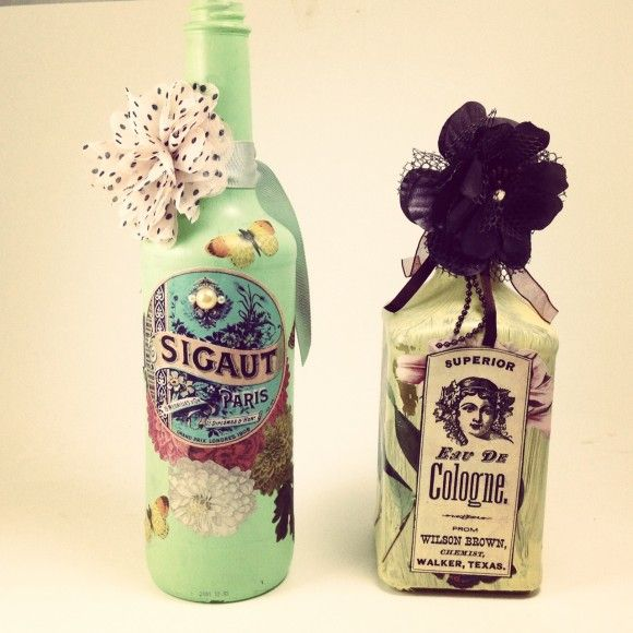 Tutorial: Recycled Altered Decoupage Bottles