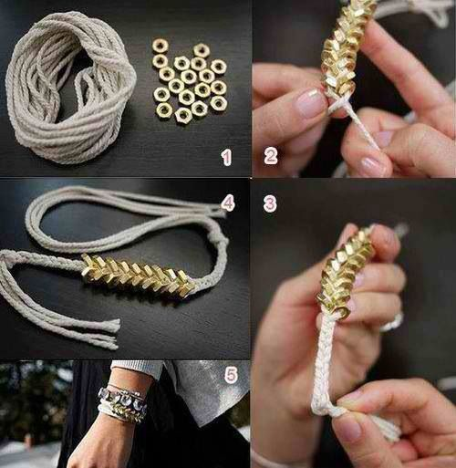 DIY Bracelet, braid for about 1.5 inchs then add the hex beads for every twist, for 2.0 inches then braid again for 1.5 inches (adjust to size)