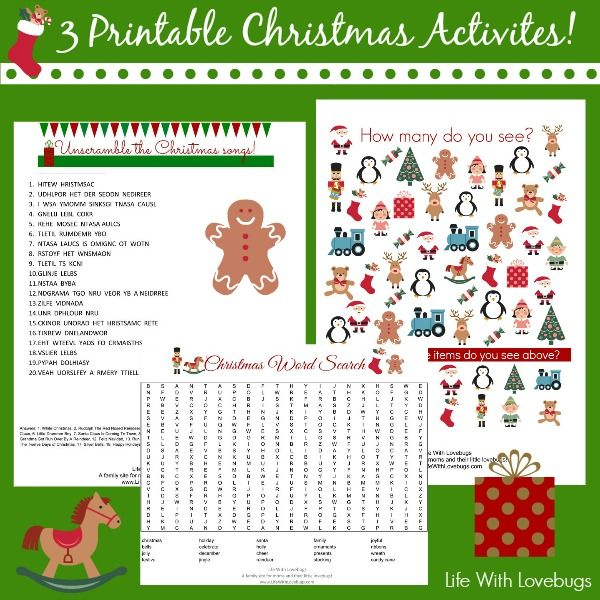 3 Printable Christmas Activities for both kids & adults! Includes a Picture Finder, Word Search and Unscramble Christmas Songs.