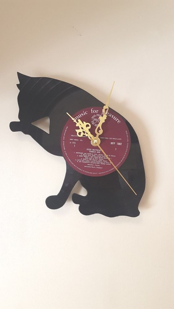 Cat Original Vinyl Record Clock 30cm 12inch New Silent Movement Wall Decoration Wall Clock Home Decoration Vin Vinyl Record Clock Record Clock Vinyl Records