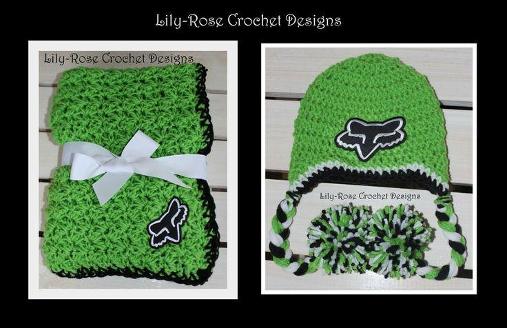 Lily-Rose Crochet Designs — Green & Black Fox Racing Baby Blanket $85