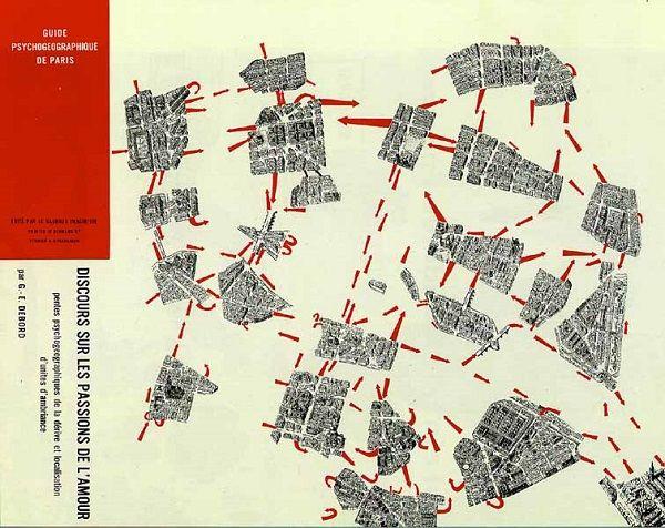 Guy Debord, Guide psychogéographique de Paris. Discours sur les passions de l'amour, 1957, Paris, BnF, Manuscrits, fonds Guy Debord.