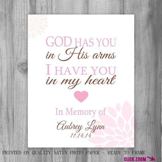 Remembrance Miscarriage Baby Loss Personalized God Has You Memorial I Have You in my Heart Print Art Loss In Memory of Lost Loved One