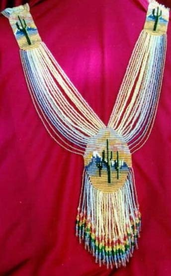 Saguaro Sunset Split Loom Necklace  #beadwork