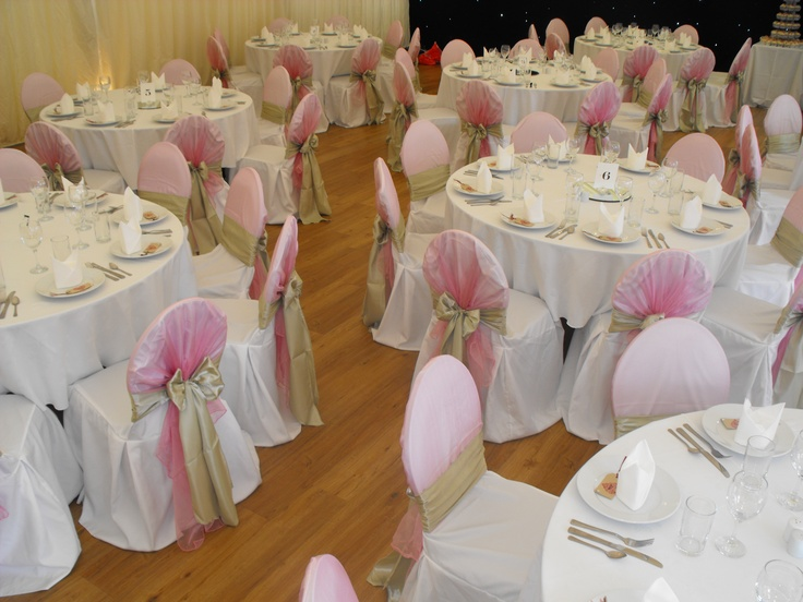 Baby Pink Organza Shawl and Sage Green Satin Bow on White Chair Covers