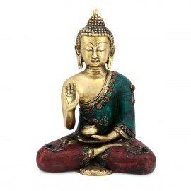 8 Inches Tibetan Brass Buddha Statue Handmade Sculpture