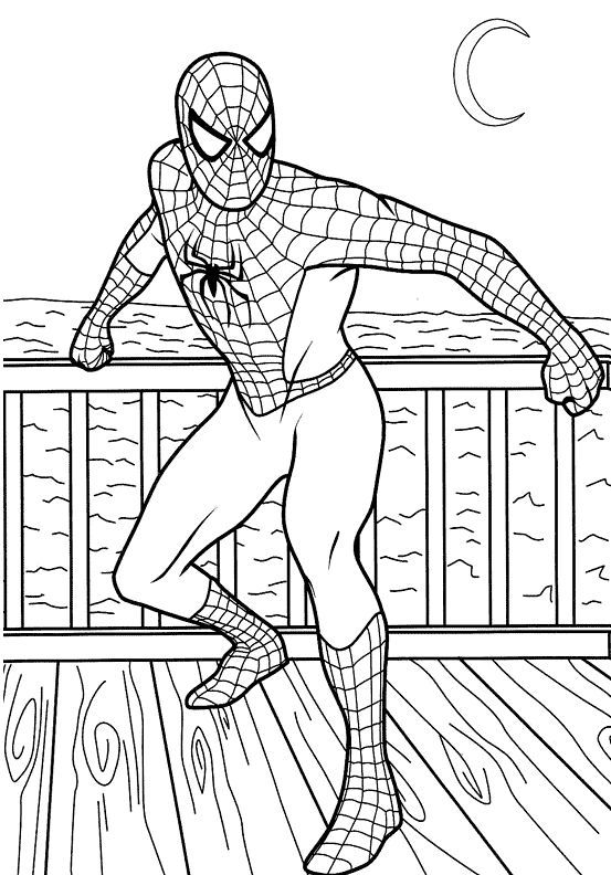 coloring pages spiderman on a boat cartoons spiderman free - Coloring Books For Boys