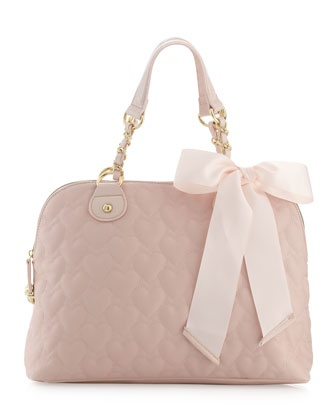 Heart-Embossed Satchel Bag, Pink by Betsey Johnson at Last Call by Neiman Marcus.