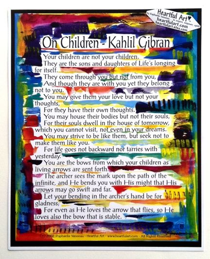 On Children Kahlil Gibran  *order custom piece for nursery, to match theme and colors