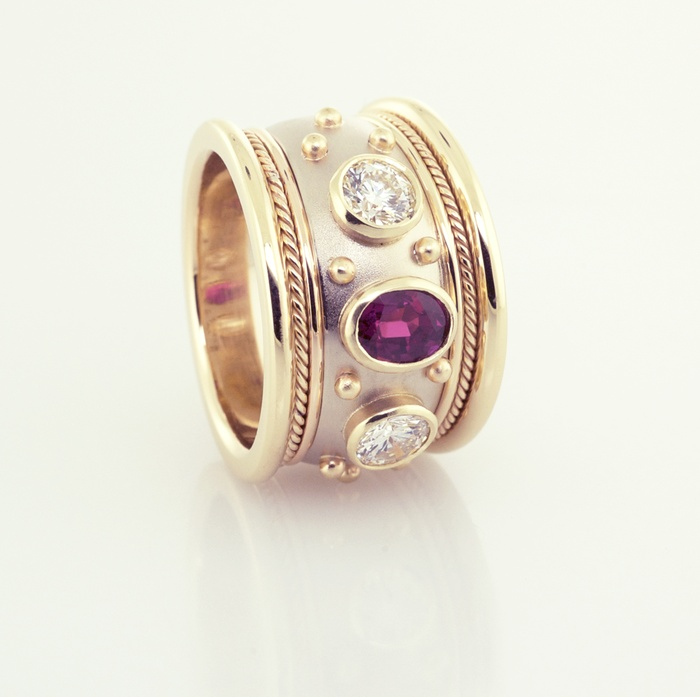 Ruby and DIamond Cigar Band in 14KT White and Yellow Gold, Front View, a Copyrighted Origianal by Thomas Michaels Desighers, Inc.