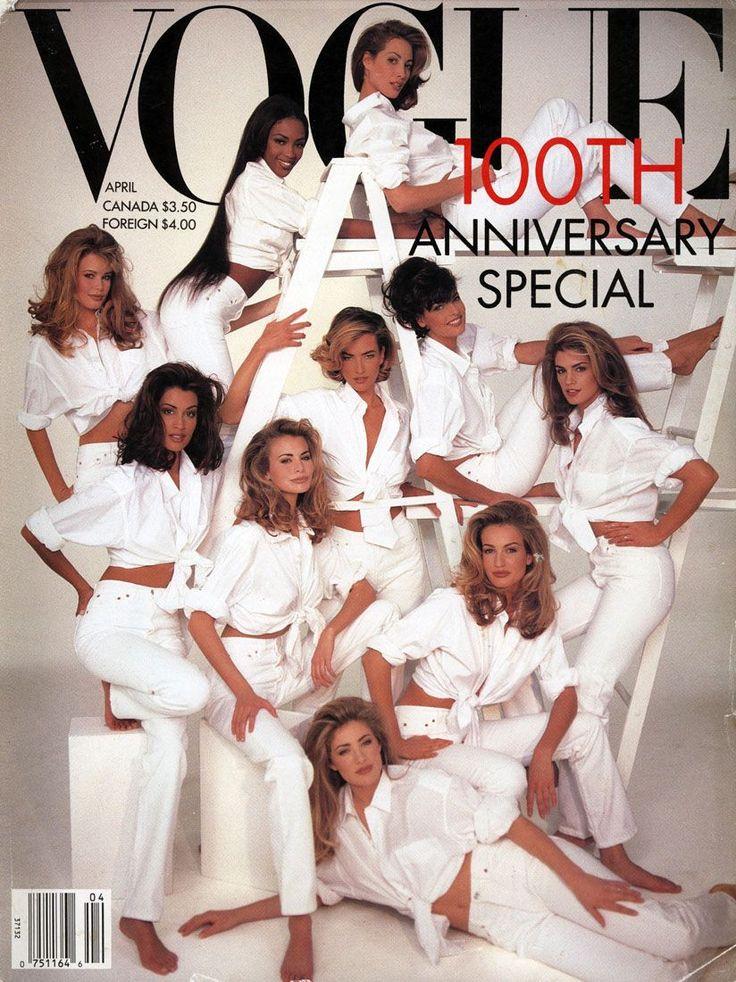 Vogue April 1992 - the original Supermodels (I still have a copy of this at home!)