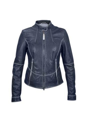 Forzieri Blue Motorcycle Leather Jacket