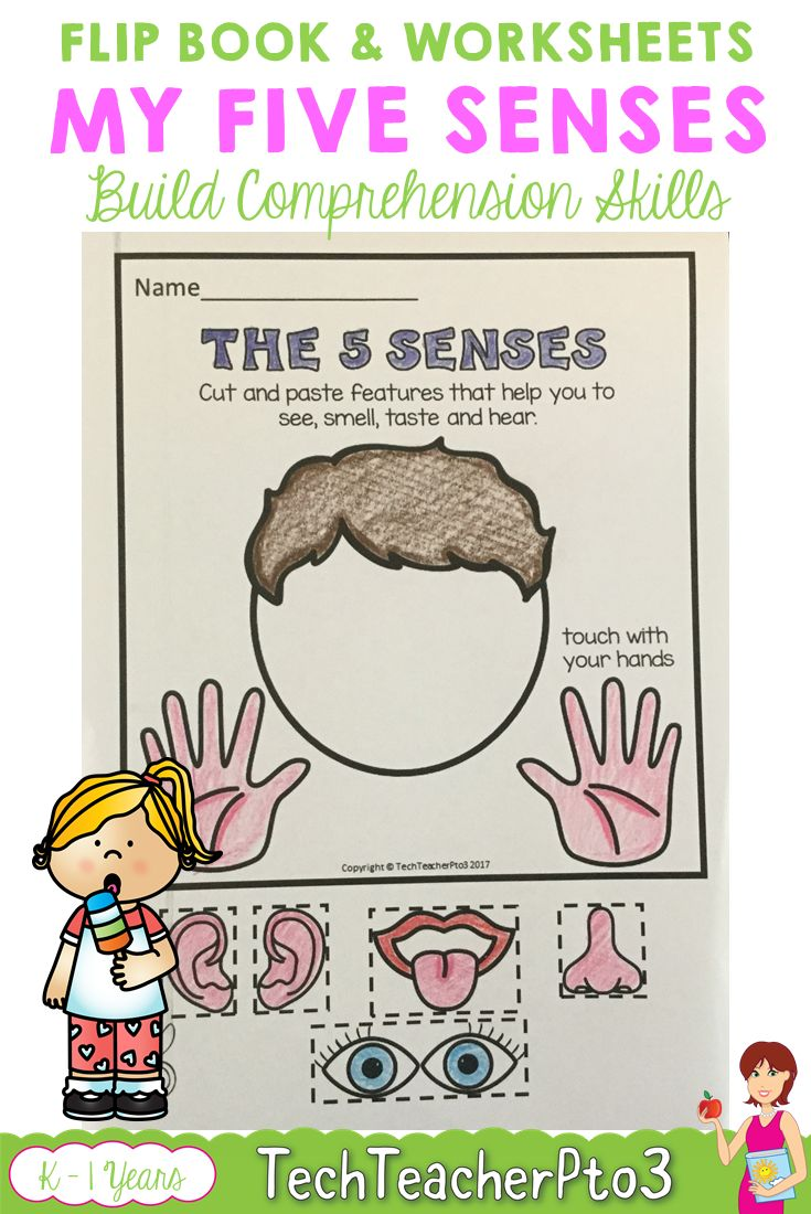 My 5 senses flip book, worksheets and anchor chart