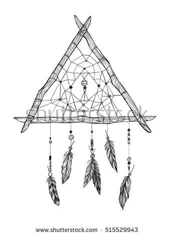 Hand drawn vector illustration - Dreamcatcher. Tribal design element. Perfect for invitations, greeting cards, posters, prints