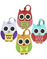 Colorful Unique Owl Luggage or Backpack ID Tags (Set of 4 - One of Each Shown)