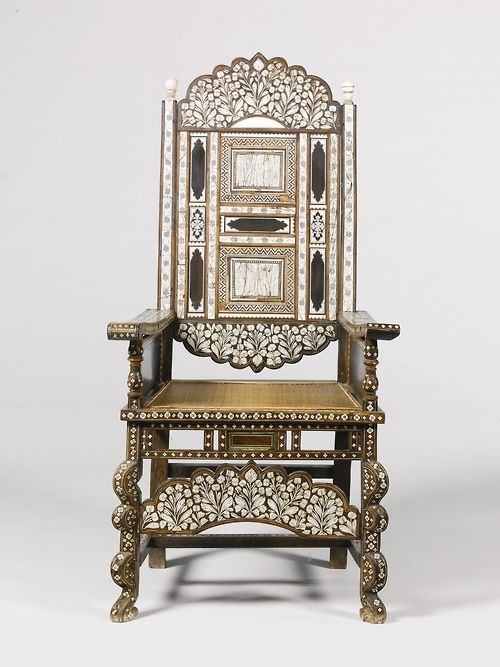 INDO-PORTUGUESE IVORY INLAID ROSEWOOD THRONE CHAIR, GUJARAT, NORTH WEST INDIA, 18TH CENTURY