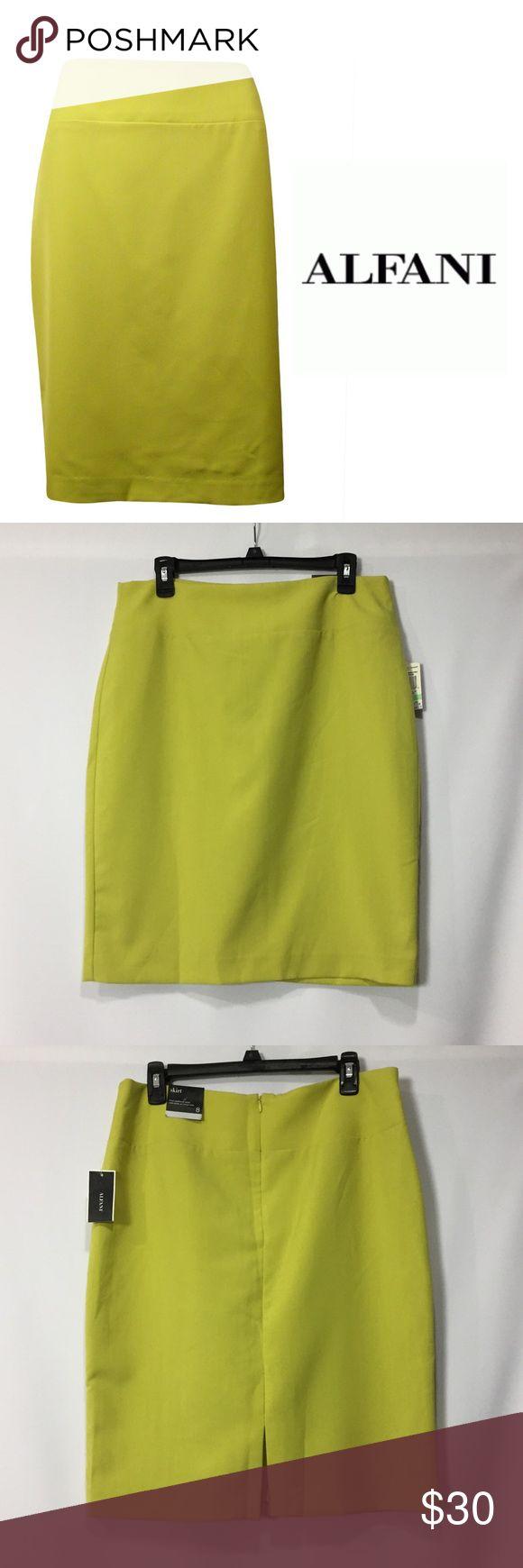 Alfani Lime Green Pencil Skirt Alfani new lime green pencil skirt. Feautures a polished finish with minimal stretch. Alfani Skirts