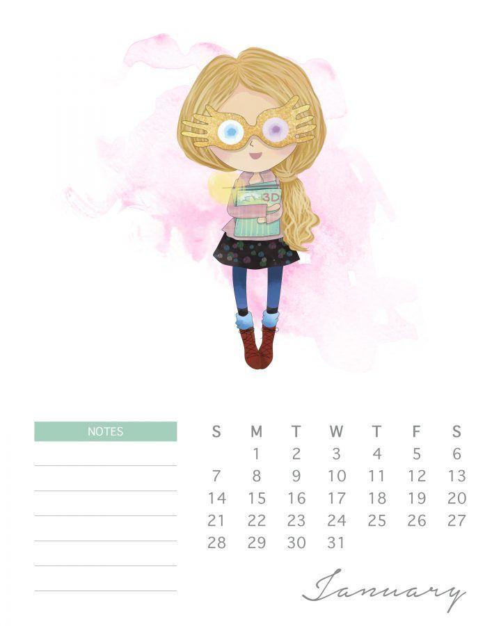 Free Printable 2018 Watercolor Harry Potter Calendar - The Cottage Market