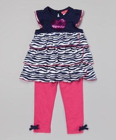 Look what I found on #zulily! Indigo Sequin Heart Tunic & Leggings - Infant, Toddler & Girls #zulilyfinds