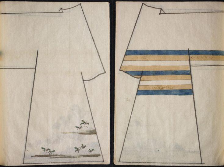 Due antichi volumi pieni di bozzetti e di ispirazioni sulle decorazioni dei kimono.