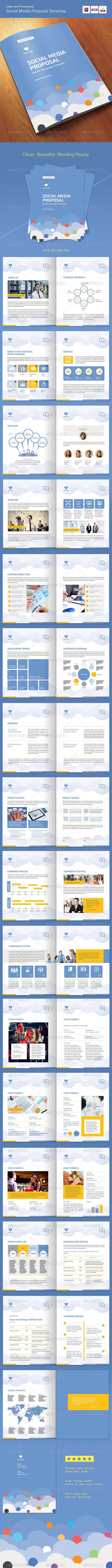 Social Media Proposal Template ...  agreement, blue, brochure, clean, cloud, completion, cover letter, invoice, letter, price, pricing, project, proposal, seo, seo proposal, social, social media