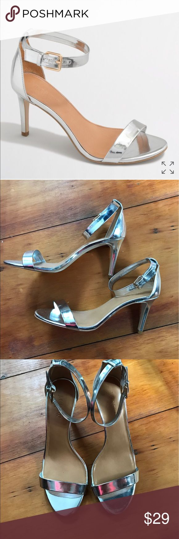 "J crew metallic high-heel sandal-silver 8.5 J. Crew factory metallic high heel sandal in silver. Women's size 8.5. Worn once (inside) box not included. Small scuffs on back of shoes. Please inspect photos carefully. 3 1/4"" heel, mirror metallic patent poly upper. Style c 1179 J. Crew Shoes Heels"