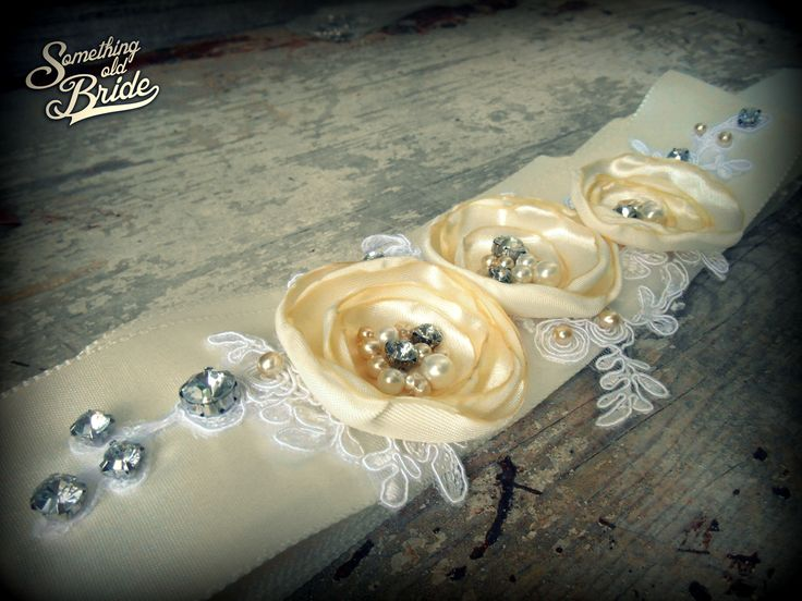 Custom made Vintage Floral Lace Bridal Belt www.somethingoldbride.com Facebook/Something Old Bride