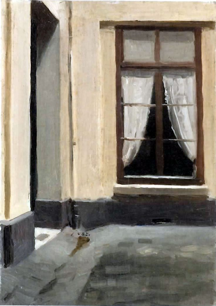 A painting of a window opening by Edward hopper, which can be changed to create a different atmosphere, by changing the colours mainly.