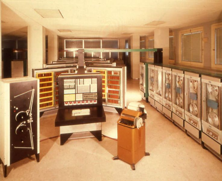 once upon a time, circa 1959, computers filled entire rooms. Olivetti Elea, design Ettore Sottsass, first electronic computer.
