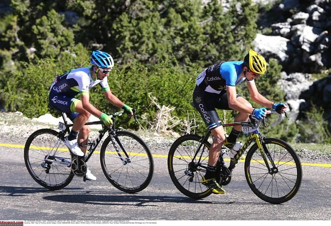 Rein Taaramae (Cofidis, Solutions Credits) and Adam Yates (Orica-GreenEdge) battle up the final climb during Stage 3 Tour of Turkey