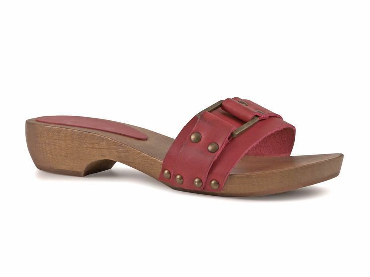 Fuchsia womens wooden clogs mules with metal buckle - Italian Boutique €49
